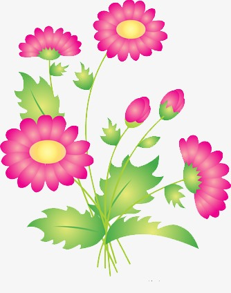 Bright Flowers, Red, Yellow, Leaf PNG Transparent Image and Clipart.
