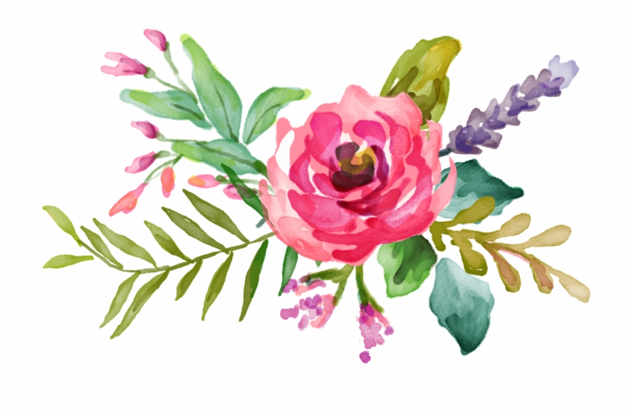 Bright Watercolor Flowers.