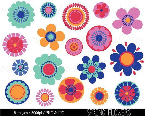 Flower Clipart, Flower Clip Art, Bright Flowers, Spring Flowers.