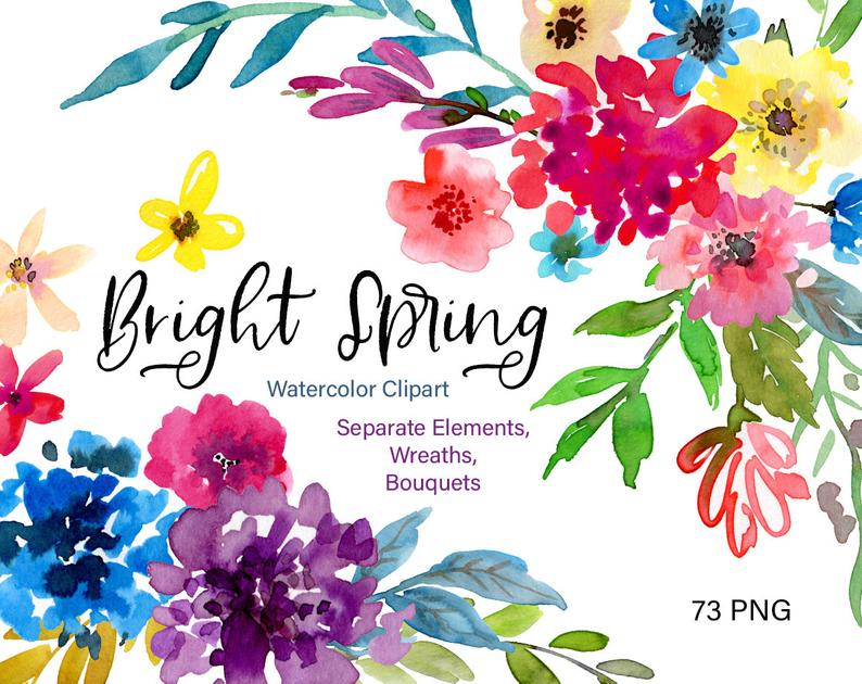 Watercolor Flowers Clipart Bright Spring Floral Clip Art Summer Aquarelle  Watercolour Wreaths Bouquets Digital Download Free Commercial Use.