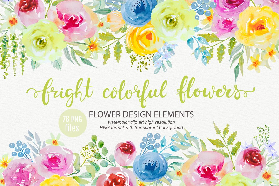 Bright watercolor flowers clipart.