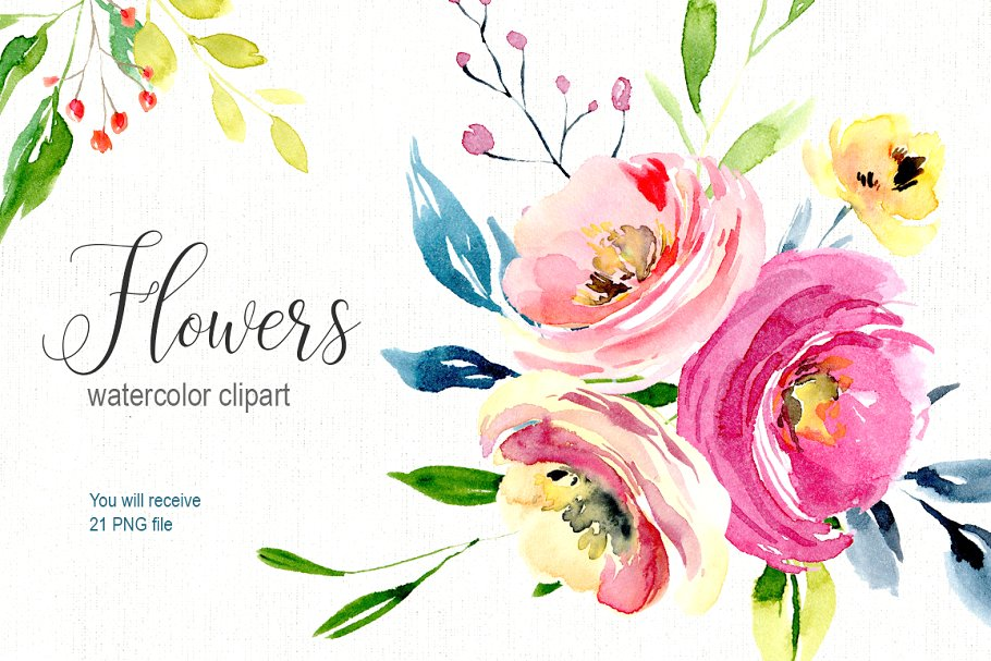 Watercolor bright flowers collection.