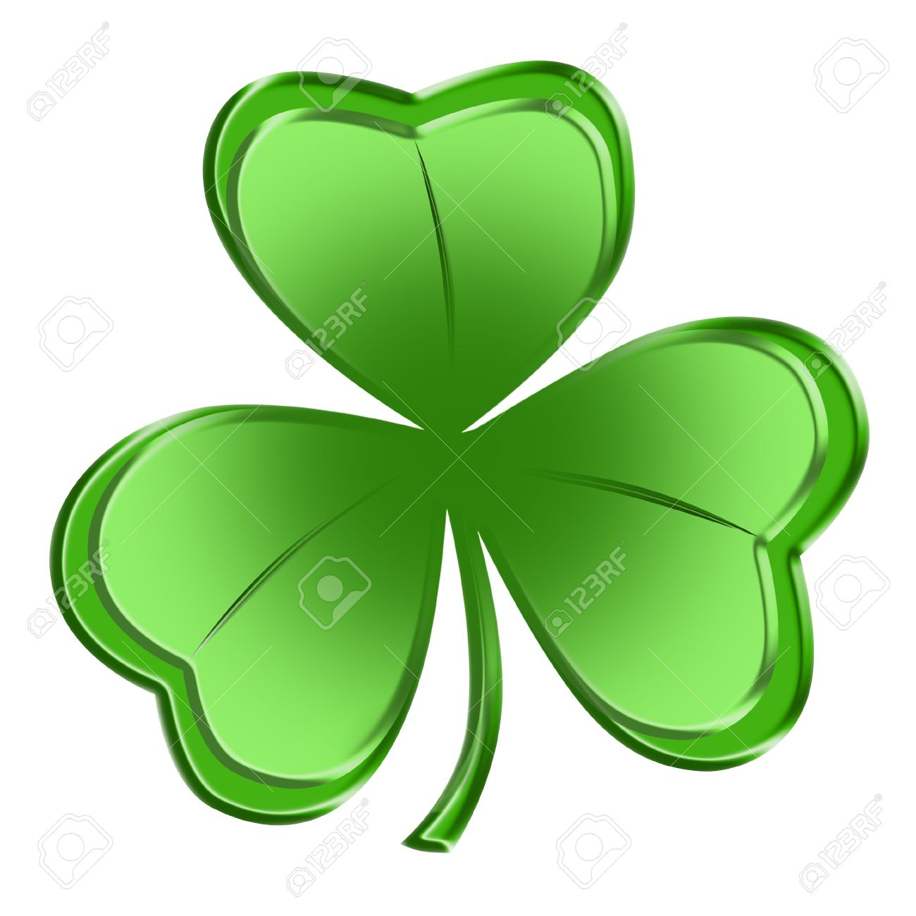 Bright Green Shamrock Isolated Over White Background Stock Photo.