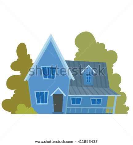 Vector Cartoon Image Cute Bright Blue Stock Vector 411852433.