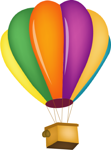 Bright hot air ballon clipart.