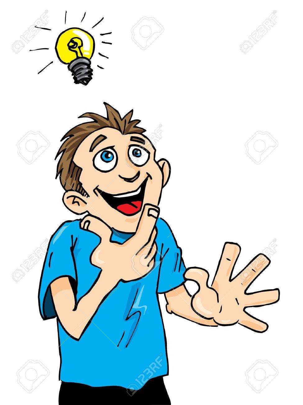 Cartoon man gets a bright idea. A light bulb above his head.
