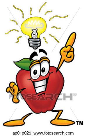 Apple with bright idea Clipart.