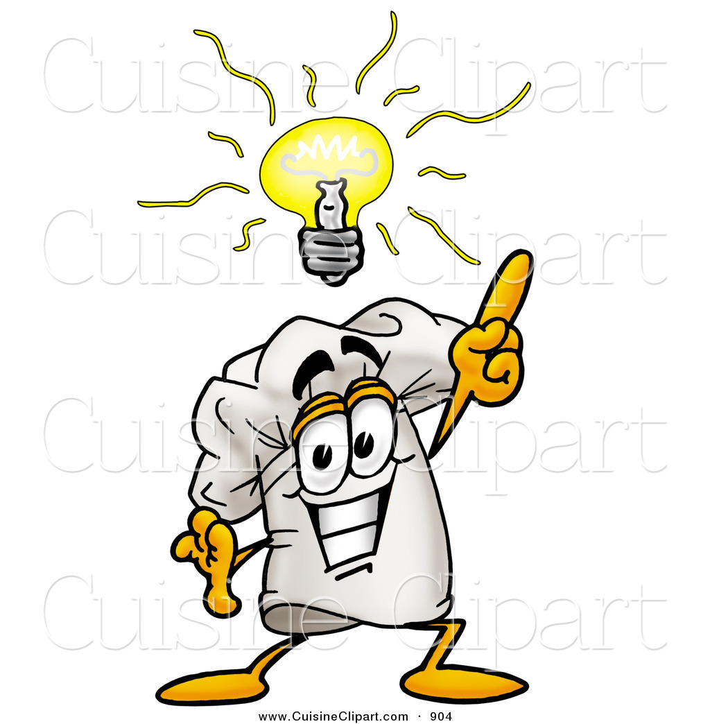 Cuisine Clipart of a Smiling Chefs Hat Mascot Cartoon Character with.