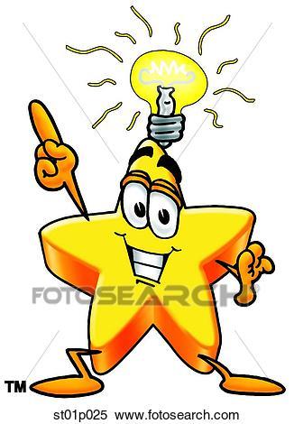 Star with bright idea Clipart.