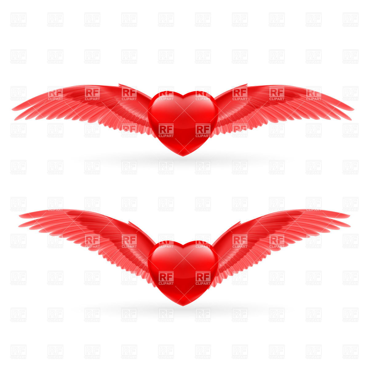 Red Hearts With Bright Red Dove Wings Vector #8j3jvN.