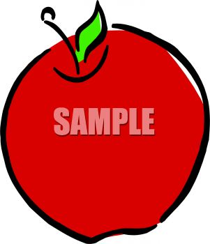 Clipart of a bright red apple.