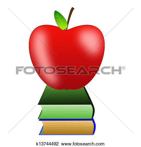 Clip Art of bright red apple and two books k13744492.