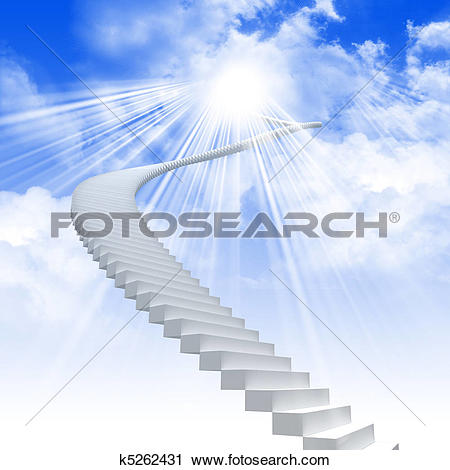 Clipart of White ladder extending to a bright sky k5262431.