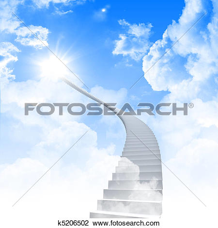 Clip Art of White ladder extending to a bright sky k5206502.