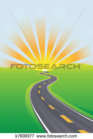 Clip Art of Highway travel bright sky morning future k7839377.