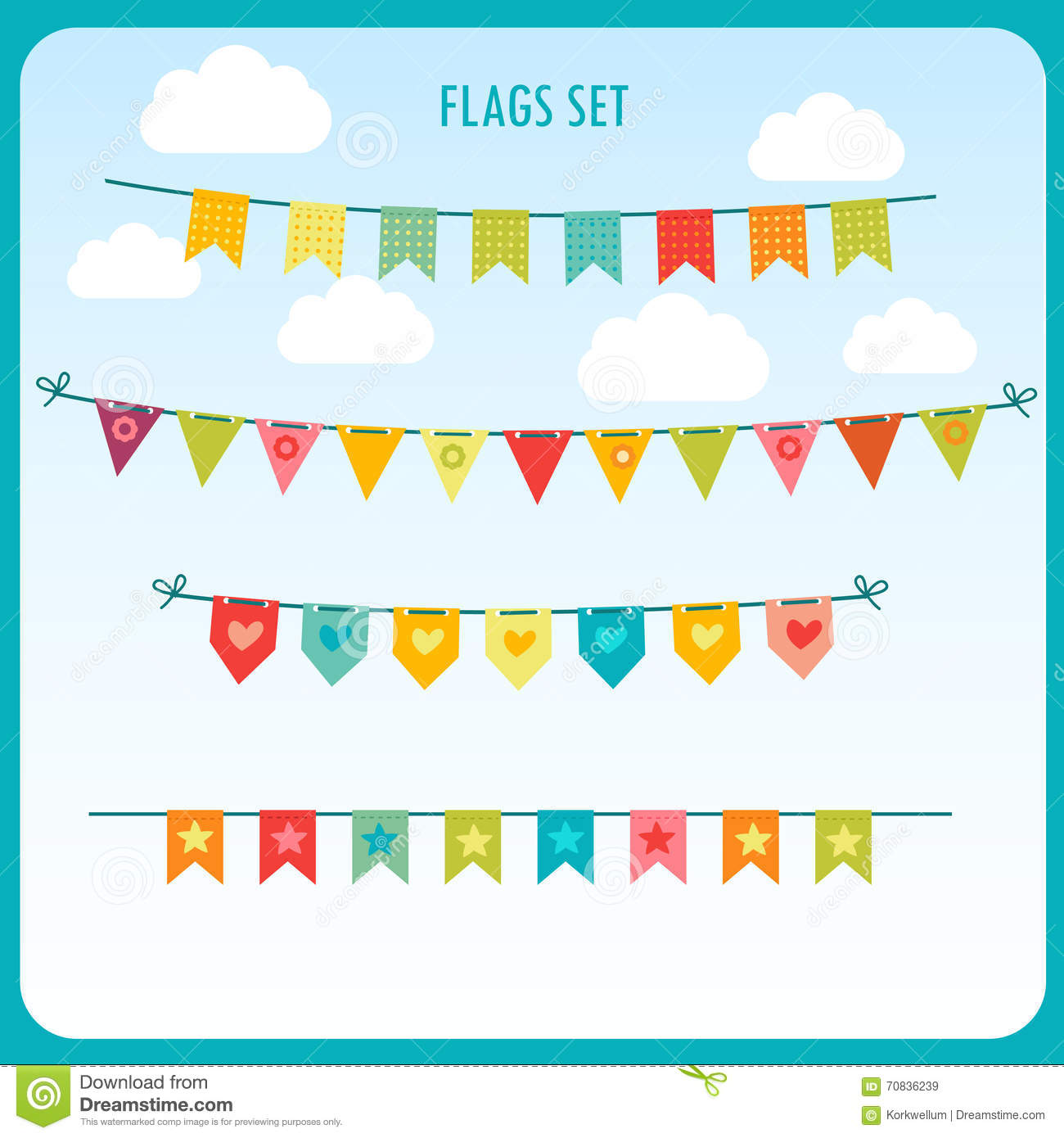 Garlands Of Festive Flags Against The Bright Sky. Vector Holiday.