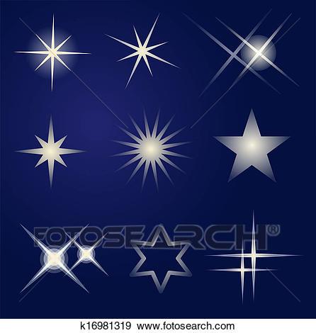 Set of bright stars Clip Art.