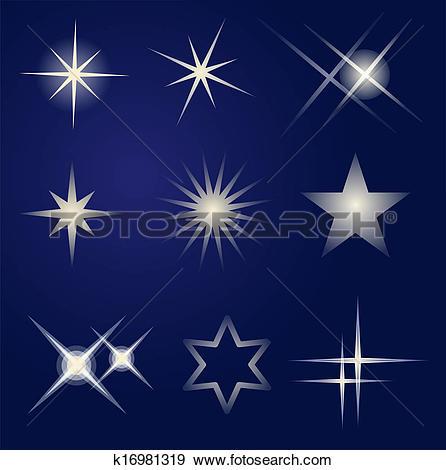 Clip Art of Set of bright stars k16981319.