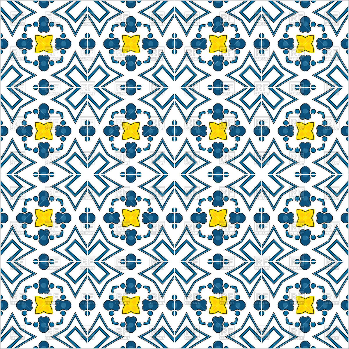 Seamless pattern in traditional Portuguese style with yellow.