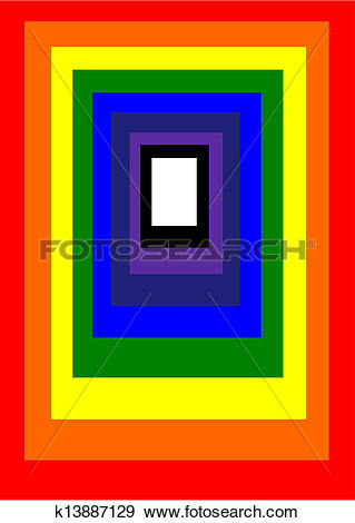 Clip Art of Rainbow Rectangle Off Centre k13887129.