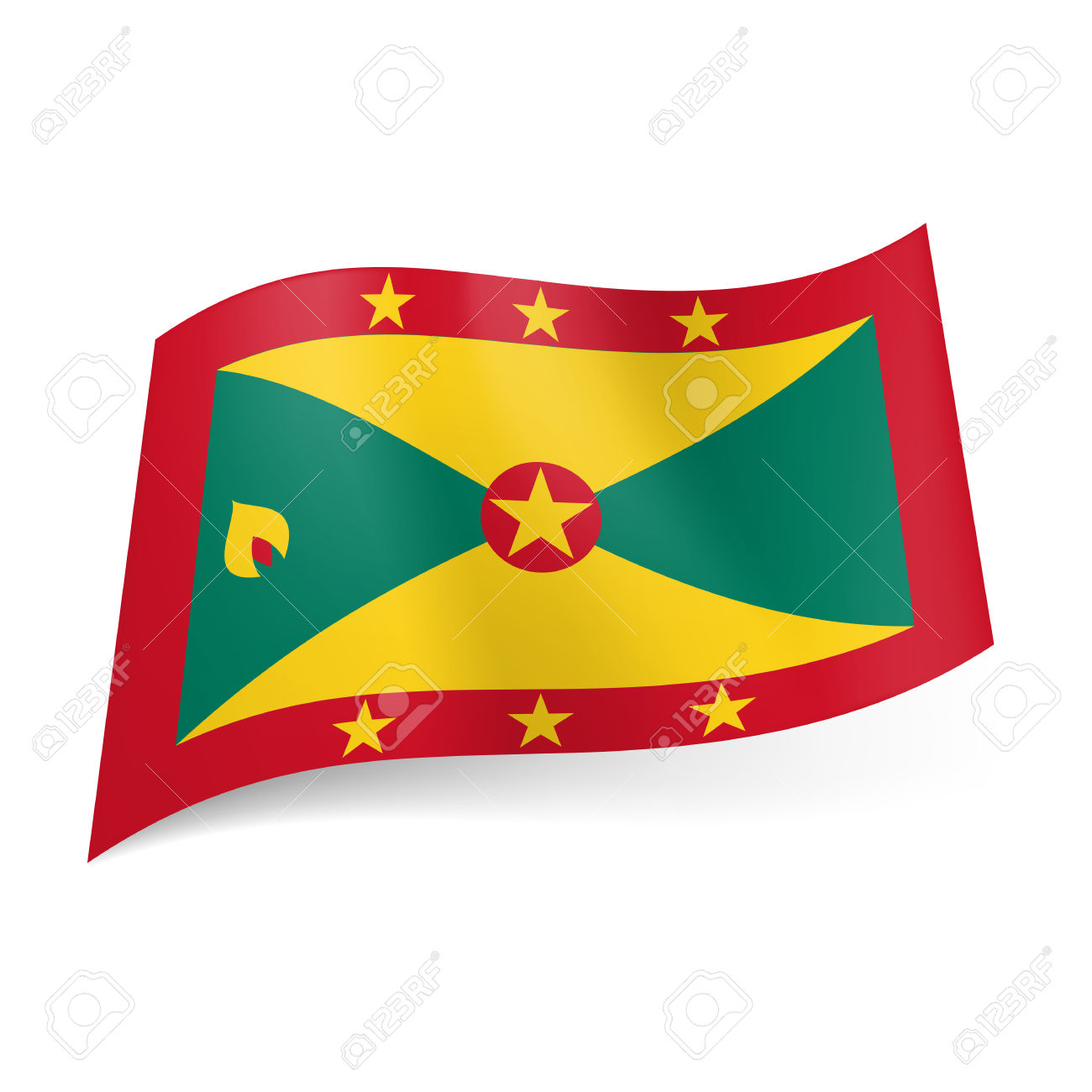 National Flag Of Grenada: Red Framed Field Of Green And Yellow.