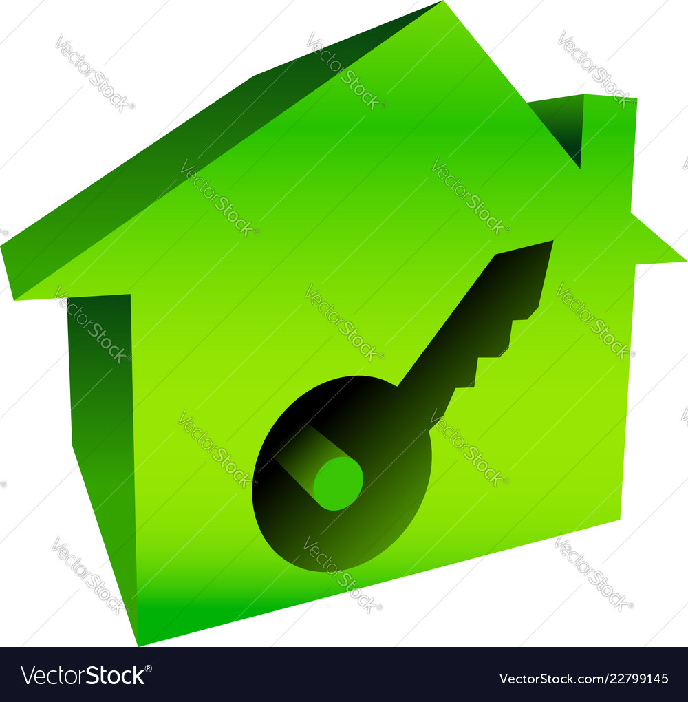 Bright house graphics with keyhole.