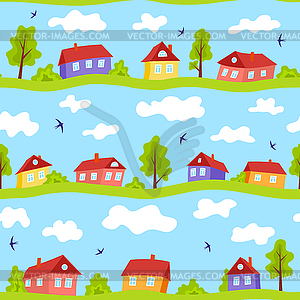 Seamless pattern with simple bright houses.