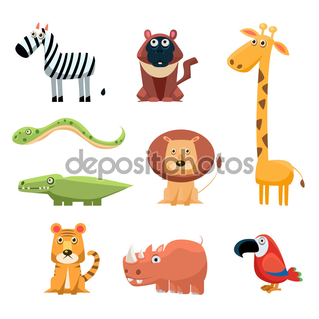 African Animals Fun Cartoon Clip Art Collection. Brightly colored.