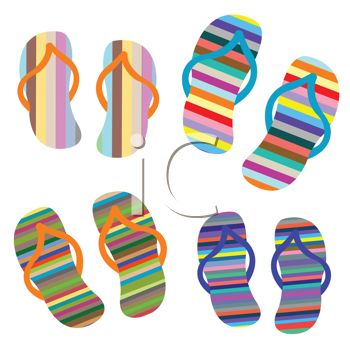 Royalty Free Clip Art Image: Brightly Colored Striped Flip Flops.