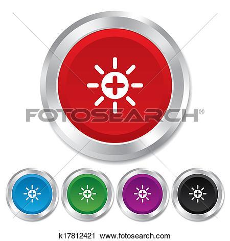 Clipart of Sun plus sign icon. Heat symbol. Brightness. k17812421.