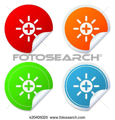Clipart of Sun plus sign icon. Heat symbol. Brightness. k20405025.