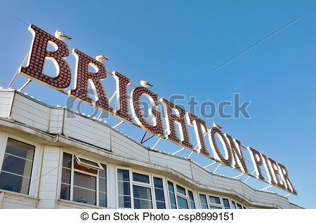 Stock Photography of Brighton Pier Sign.