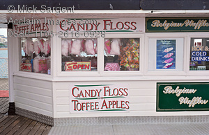 Stock Photo of a Candy Floss Shop on Brighton Pier, Brighton.