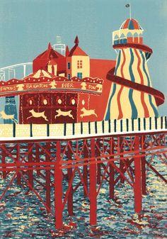 Colin Moore Brighton Pier lino cut.