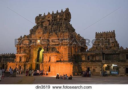 Stock Photograph of Brihadeshwara temple in silhouette ; world.