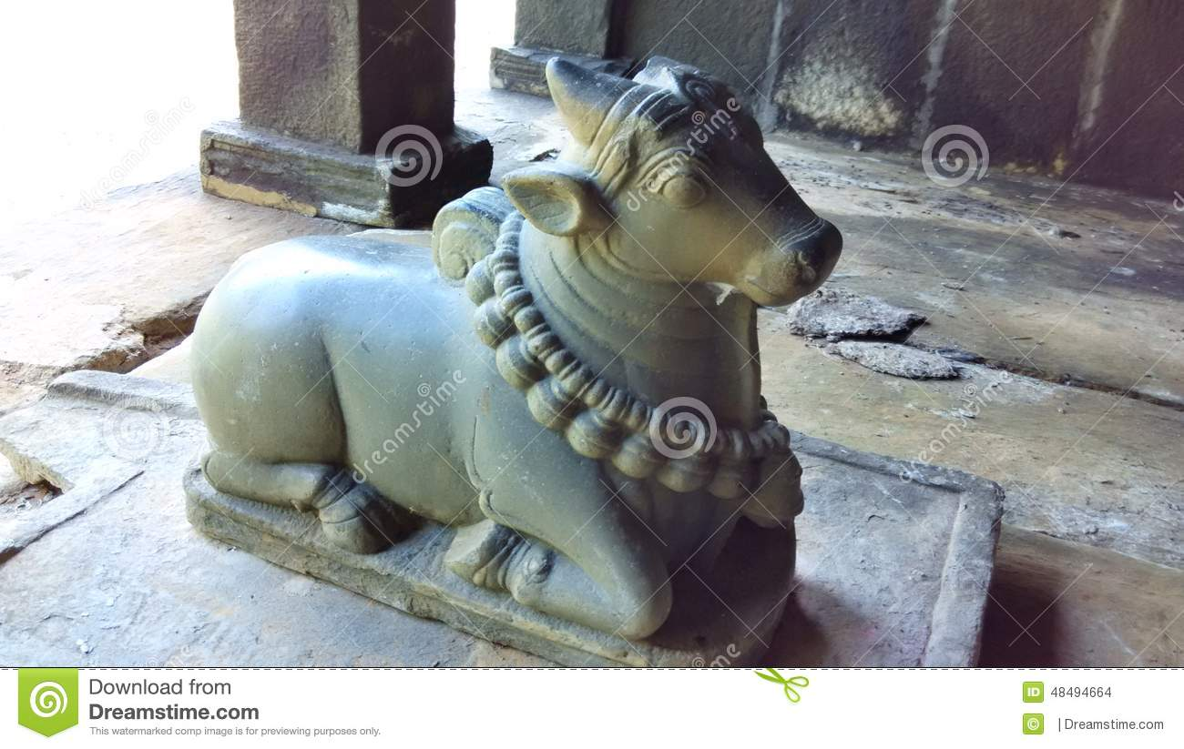 Statue Of Nandi Bull At Brihadeshwara Temple. Stock Photo.