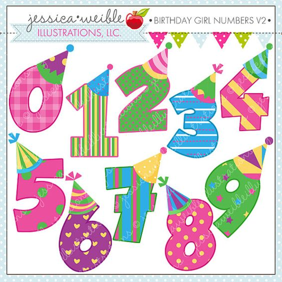 Birthday Girl Numbers V2 Cute Digital Clipart for Commercial or.