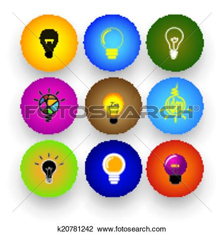 Clipart of idea light bulb, brilliance, genius, smart, clever.