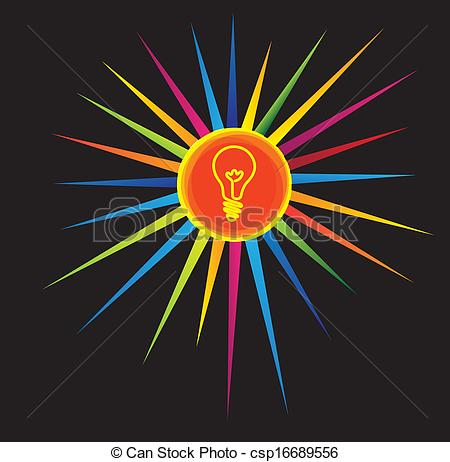 Clipart Vector of light bulb icon on a colorful star.