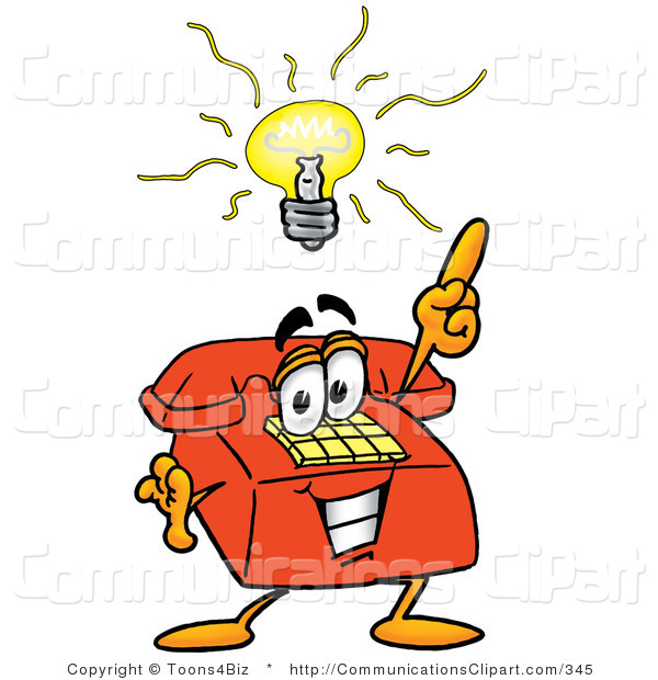 Communication Clipart of a Brilliant Red Telephone Mascot Cartoon.