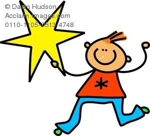A Happy Little Boy Holding A Giant Star Clipart Image.