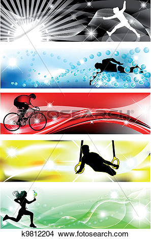 Clipart of 5 Sports banner with five brilliant colors k9812204.