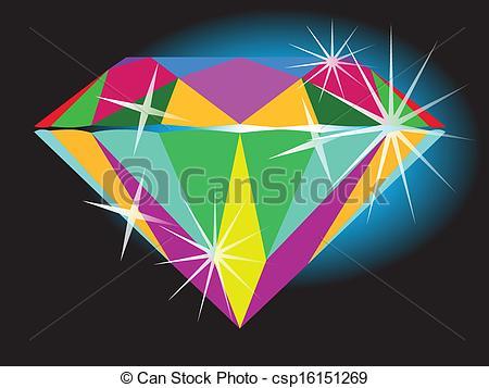 Clip Art Vector of Modern Brilliant Diamond Cut.