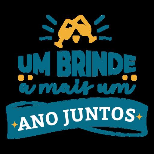 Um brinde a mais um ano juntos portuguese text glass heart sticker.
