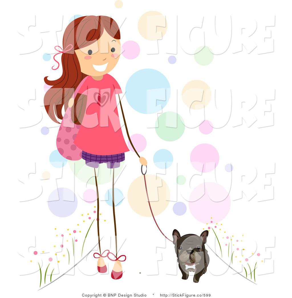 Clip Art of a Stick Girl Walking Her Cute Brindle French Bulldog.