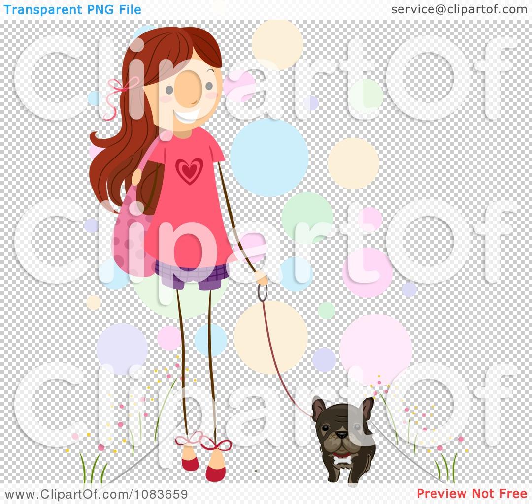 Clipart Cute Stick Girl Walking Her Brindle French Bulldog.