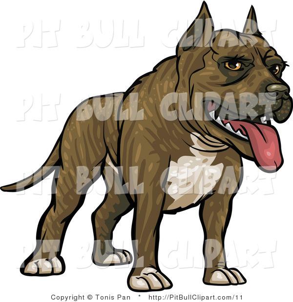 Clip Art of a Brindle Pitbull Dog by Tonis Pan.