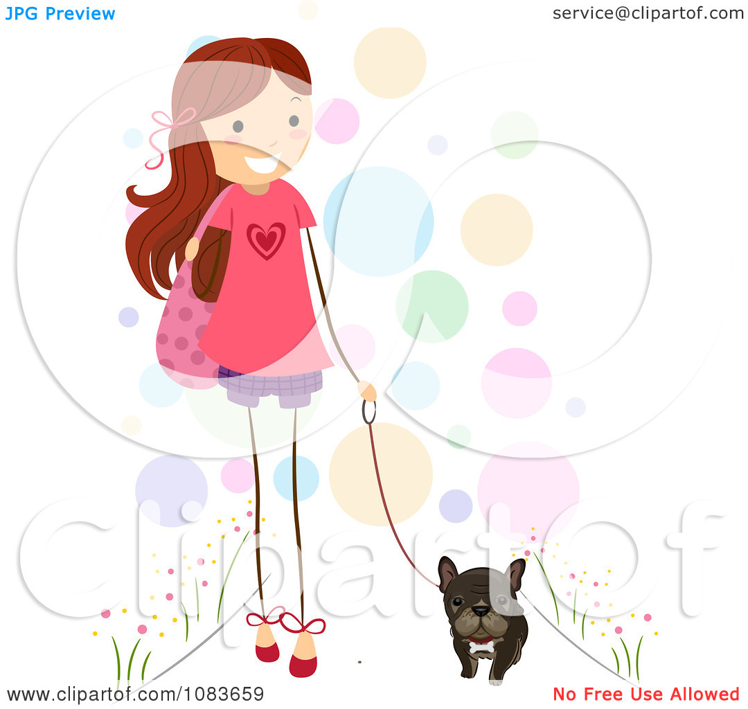 Clipart Cute Stick Girl Walking Her Brindle French Bulldog.