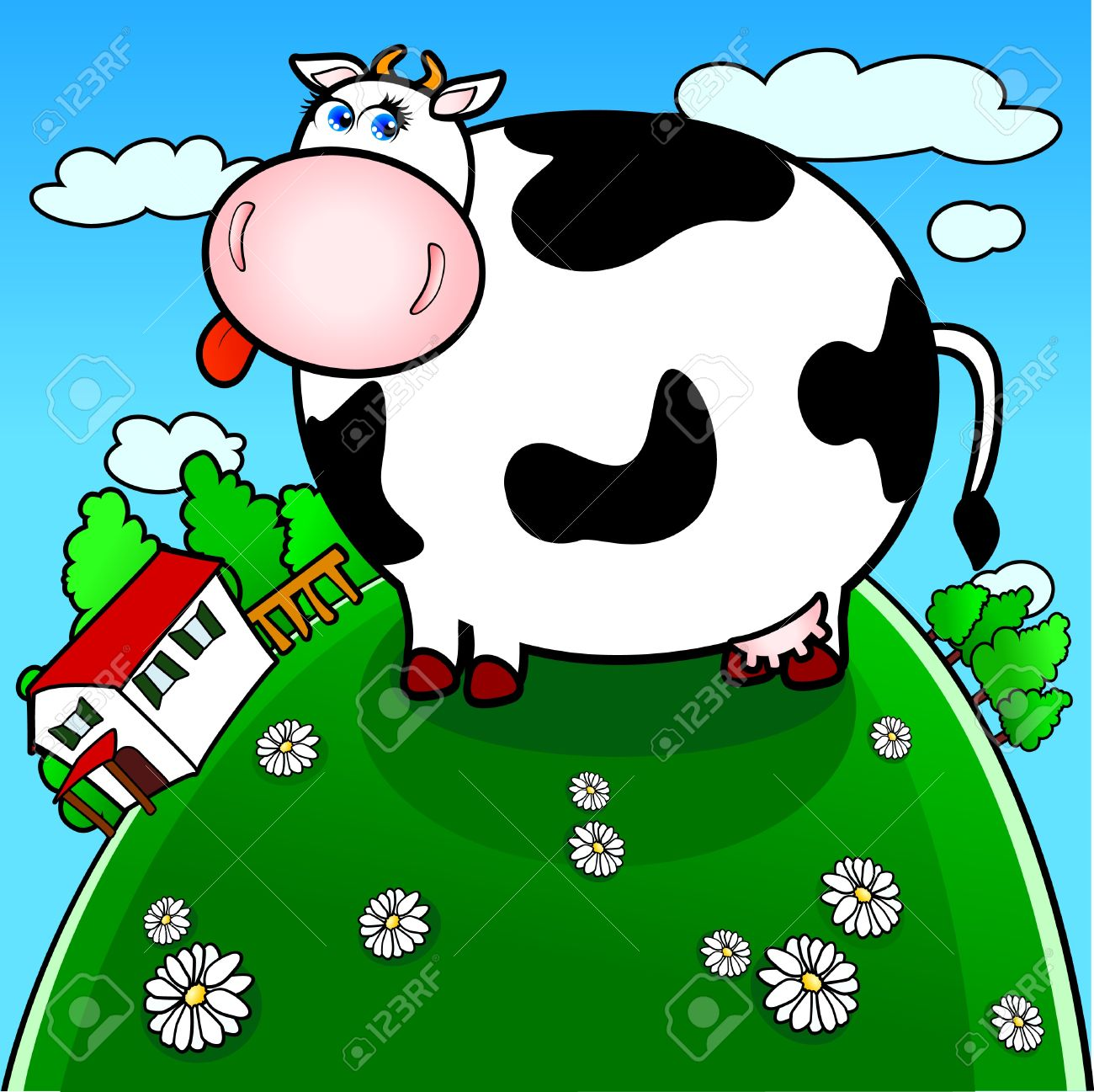 Funny Brindled Cow Grazing In The Countryside Royalty Free.