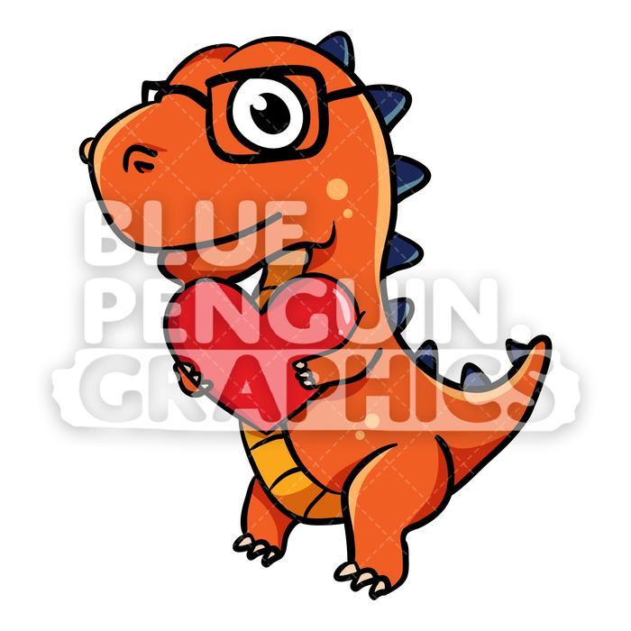 Dino bring Red Heart Vector Cartoon Clipart Illustration.